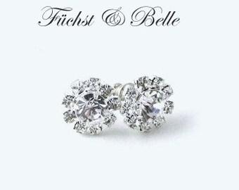 Bridal stud earrings - Round solitary rhinestones diamond look alike earrings