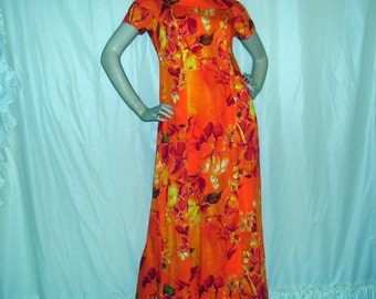 Hawaiian Dress Luau Tiki Party Vintage Cape 60s Lava Volcano Red Orange Yellow Floral Hare Aloha Caftan Cruise Adult S M Cruise Maxi Long