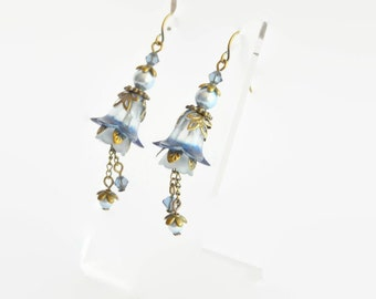 Pale blue bronze Swarovski crystal and pearl hand dyed lucite flower earrings