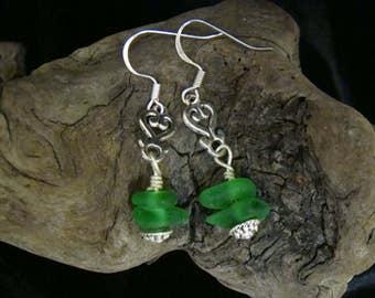 Kelly Green Sea Glass Earrings