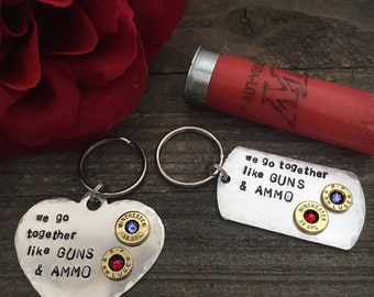Couples jewelry, bullet jewelry, bullet keychain, Guns and ammo couples bullet keychain set