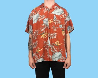 Vintage Red Hawaiian Flower Print Shirt