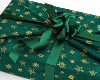 Reusable Gift Wrapping, Christmas Green with Gold Snowflake Print Fabric with Green Ribbons Sewn on