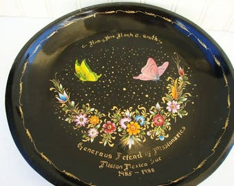 vintage painted folk art wood bowl mexican batea presentation gift