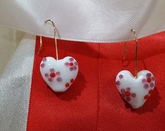 White Glass Heart Earrings