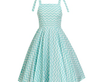Mint Dress Chevron Dress Zig Zag Dress Retro Dress Sun Dress Swing Dress Summer Dress Plus Size Dress PinUp Dress Birthday Dress Party Dress
