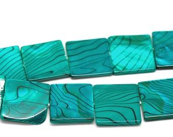 Set of 2 square 20mm x 20mm malachite green shell beads