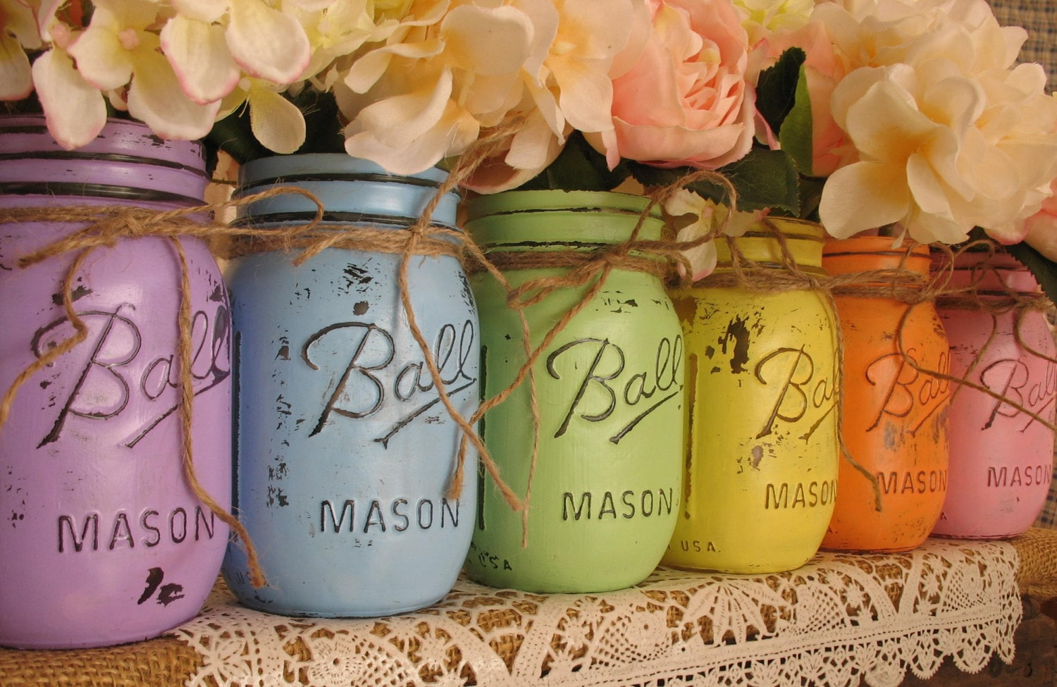 EASTER SALE Set Of 6 Pint Mason Jars Ball Painted