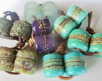 Made to Order  7 Sets of Large Hole Hand Made Bead Set by SRA Artist Sarah