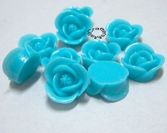 SALE- 10pcs Blue Rose Flower Cabochons/Blue Resin Cabochons/Blue Flat Back Rose Flowers/Flat Back Cabochons/Blue Vintage Rose Cabochons/BLUE