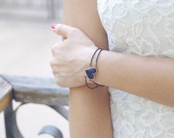 Tiny black heart bracelet, valentines day gift, charm love bracelet, girl women bracelet, bracelet for women, bracelet charms