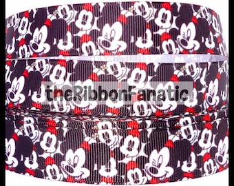 "5 yds 7/8"" Mickey Ears Collage Black White Red  Grosgrain Ribbon"