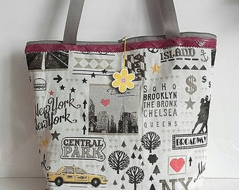 Trendy New York yellow taxi fabric and faux leather bag and gray fabric, handbag, women Brooklyn Chelsea Central Park
