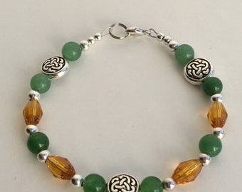 Green and Light Topaz Celtic Knot Bracelet