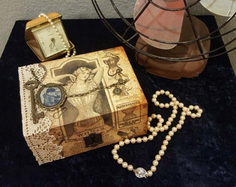 Wood Box, Mixed Media, Altered, Jewlery, Gift Box