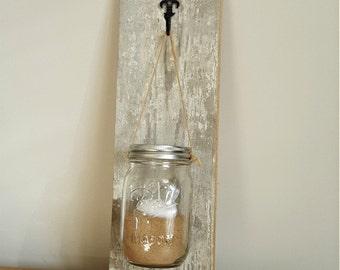 Handmade rustic wood jar hangers | wall hanger | wall display | shabby chic