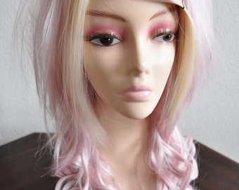 Wavy & Straight Layered Wig in Blonde and Pastel Pinks