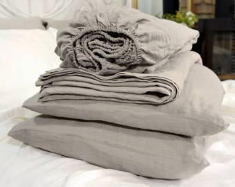Natural unbleached linen set of sheets -4 pieces linen bed sheet set- beige linen fitted sheet, flat sheet &2 pillow cases