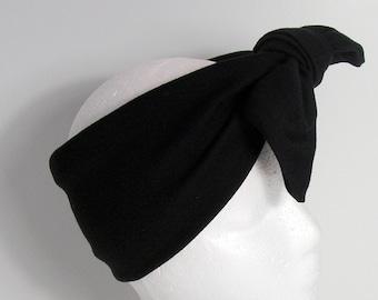 100% Cotton Black Bandana Chef's Black Cotton Jersey Head Scarf Black Head Wraps Cotton Neck Scarf Black Headband Black All Cotton Bandana
