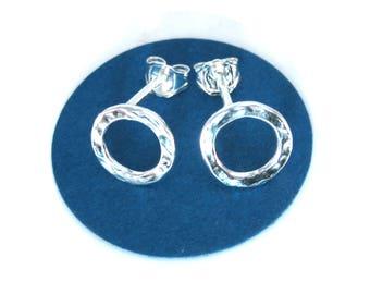 Hammered Silver Circle Stud Earrings Handmade Round Earrings Studs