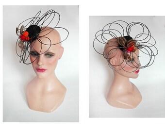 Ascot Fascinator feather fascinator pillbox hat, fancy wedding, ceremony, hatinator, Hütchen woman Hat