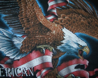 Vintage American Biker black t-shirt Eagle and USA Flag by 3D Emblem , CMJ Marketing Forth Worth Texas size: X-Large