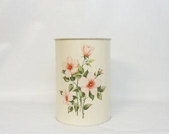 Vintage Wastepaper Basket Roses Metal Wastepaper Can Decoware Tin Litho Waste Can