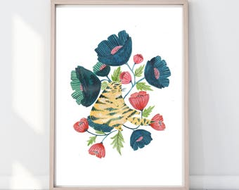 Watercolour Folk Floral Cat Print, Cat Lover Print, Cat Wall Art