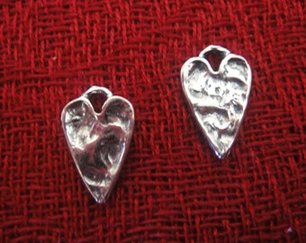 925 sterling silver oxidized  hammered heart charm, pendant 1 pc.