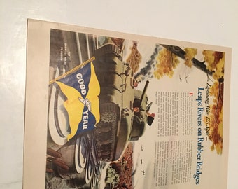 1942 goodyear tire ad vintage ad suitable for framing leaps rivers on rubber bridges
