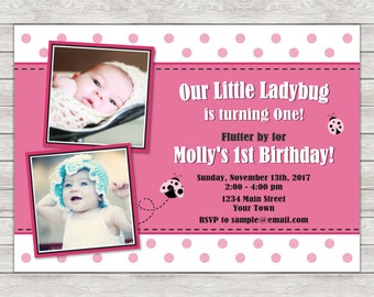 Ladybug 1st Birthday Invitation, Pink Ladybug Birthday Invitation - Digital File (Printing Services Available)
