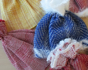 Handwoven Baby Hats Wool and Rayon Primary Colors