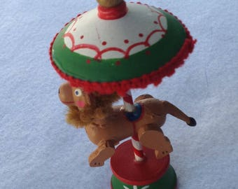 Vintage Christmas Circus Horse wood ornament