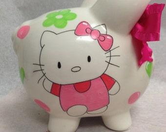 Personalized Piggy Bank Hello Kitty