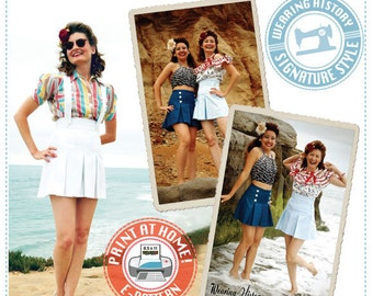 """E-PATTERN- """"Rita"""" Pleated Shorts- Late 1930s 1940s Style- PDF Pattern Wearing History"""