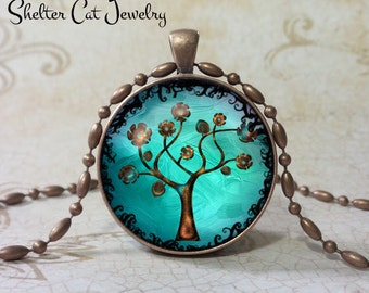 "Tree of Life Necklace - Aqua and Copper - 1-1/4"" Round Pendant or Key Ring - Handmade Wearable Photo Art Jewelry, Picture Gift, Nature"