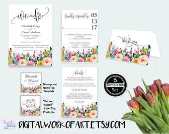 Floral Boho Wedding We Do Invitation Template Set, DIY Bohemian Wedding Invitation Editable PDF, wedding printable, instant download