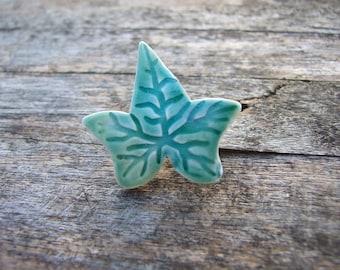 Ivy leaf brooch, green glazed ceramic, botanical, woodland
