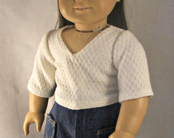Detailed Long Jean Skirt and 3/4 length sleeved cream v-neck shirt fits American Girl Dolls