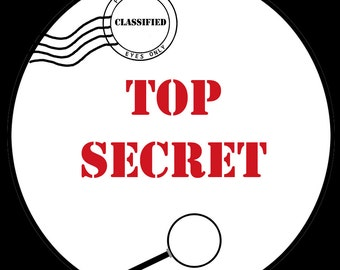 Top Secret Round Stickers  - Birthday Party - AVAILABLE in Four Sizes - TOP SECRET  -   Spy Party - Secret Agent - 1.5  Inches