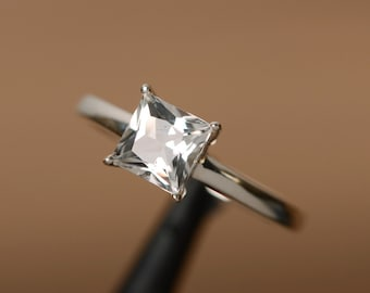 natural white topaz ring solitaire ring princess gemstone ring sterling silver ring