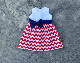 baby 4th of july outfit, monogram baby clothes, fourth of july dress, personalized girl clothes, Red white blue chevron dress, navy sash