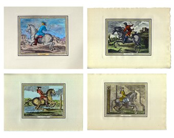 Animals - Horsemanship I(4 engraving) - Cm. 28 x 20 Inches 11 x 7,9 - Printed on high quality paper and water-coloured by hand. Since 1920s
