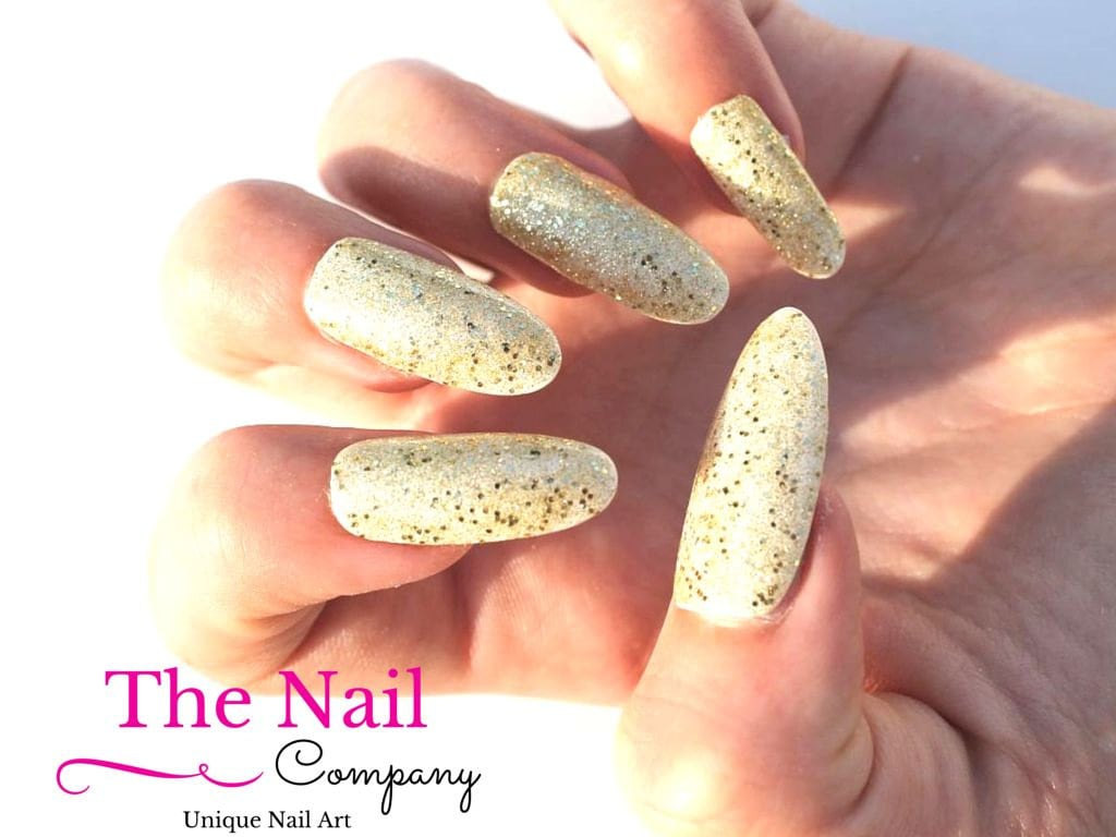 White and Gold Fake Nails - Glittering Nails available as Stiletto ...