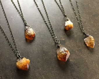 Natural, Raw Citrine Crystal Necklace - Oxidized Brass