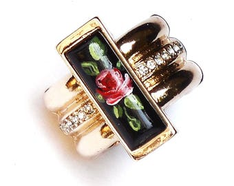Romantic Gold Victorian Painted Rose Ring Boho Chic Jewelry FREE SHIPPING