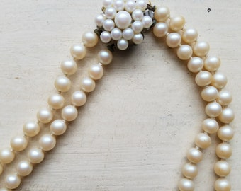 Vintage Double Strand Faux Pearl Necklace with Unique Clasp