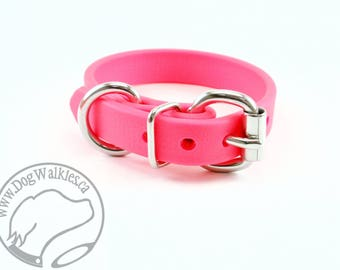 """Hot Neon Pink Beta Biothane Dog Collar - 5/8"""" (16mm) Wide - Leather Look and Feel - Small Dog Collar - Stainless Steel or Brass Hardware"""