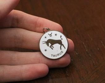 Vintage copper taurus pendant