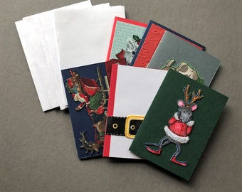 Handmade Fabric Mouse & Friends Christmas Gift Enclosure Cards Set of 6